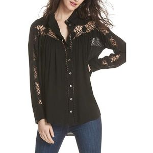 Free People Katie Bird Button-Down Top